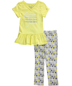 "Calvin Klein Little Girls' Toddler ""Wavy Reflections"" 2-Piece Outfit (Sizes 2T – 4T) - CookiesKids.com"