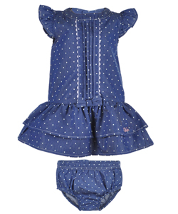 "Calvin Klein Baby Girls' ""Marybeth"" Dress with Diaper Cover - CookiesKids.com"