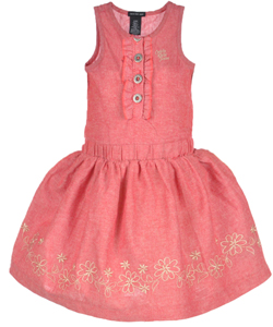 "Calvin Klein Baby Girls' ""Highland Flowers"" Dress with Diaper Cover - CookiesKids.com"