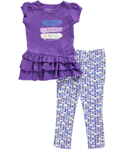"Calvin Klein Little Girls' Toddler ""Glitter Swatches"" 2-Piece Outfit (Sizes 2T – 4T) - CookiesKids.com"