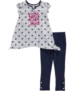 "Calvin Klein Little Girls' Toddler ""Star Power"" 2-Piece Outfit (Sizes 2T – 4T) - CookiesKids.com"