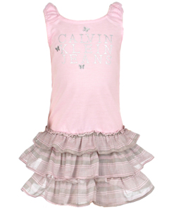 "Calvin Klein Baby Girls' ""Silvery Butterflies"" Dress with Diaper Cover - CookiesKids.com"