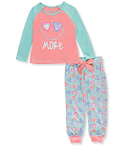 "Sleep On It Little Girls' ""Smile More"" 2-Piece Pajamas (Sizes 4 – 6X) - CookiesKids.com"