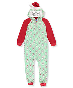Sleep On It Big Girls' Plush Hooded Coverall (Sizes 7 – 16) - CookiesKids.com