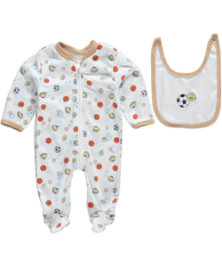 "Coney Isle Baby Boys' ""Ready for Sports"" Footed Coverall with Bib - CookiesKids.com"