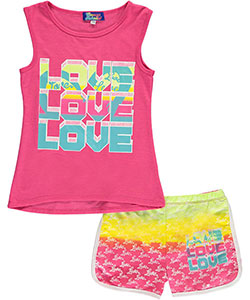 "Coney Island Little Girls' ""Triple Love"" 2-Piece Outfit (Sizes 4 – 6X) - CookiesKids.com"