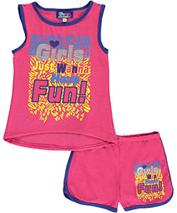 "Coney Island Little Girls' ""Just Wanna Have Fun"" 2-Piece Outfit (Sizes 4 – 6X) - CookiesKids.com"