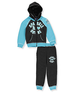 "Coney Island Little Girls' Toddler ""Sparkle Love"" 2-Piece Fleece Sweatsuit (Sizes 2T – 4T) - CookiesKids.com"