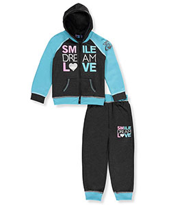 "Coney Island Little Girls' Toddler ""Smile Dream Love"" 2-Piece Fleece Sweatsuit (Sizes 2T – 4T) - CookiesKids.com"