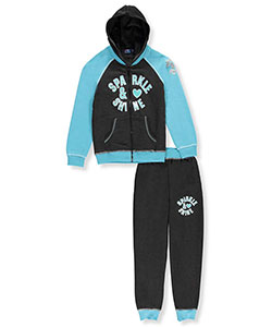 "Coney Island Big Girls' ""Sparkle Love"" 2-Piece Fleece Sweatsuit (Sizes 7 – 16) - CookiesKids.com"