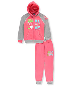 "Coney Island Big Girls' ""Smile Dream Love"" 2-Piece Fleece Sweatsuit (Sizes 7 – 16) - CookiesKids.com"