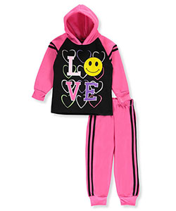 "Coney Island Little Girls' Toddler ""Emoji Love"" 2-Piece Fleece Sweatsuit (Sizes 2T – 4T) - CookiesKids.com"