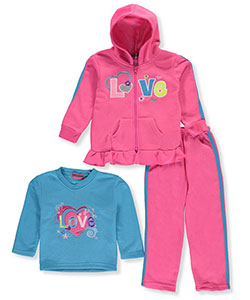 "Coney Island Little Girls' ""Love Ruffle"" 3-Piece Outfit (Sizes 4 – 6X) - CookiesKids.com"