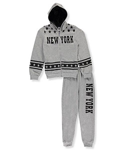 "Coney Island Big Boys' ""New York Stars"" 2-Piece Fleece Sweatsuit (Sizes 8 – 20) - CookiesKids.com"