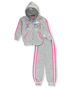 "Coney Island Little Girls' Toddler ""Glitter Princess"" 2-Piece Fleece Sweatsuit (Sizes 2T – 4T) - CookiesKids.com"