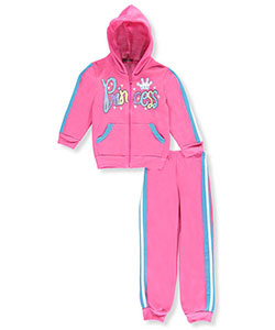 "Coney Island Little Girls' ""Glitter Princess"" 2-Piece Fleece Sweatsuit (Sizes 4 – 6X) - CookiesKids.com"