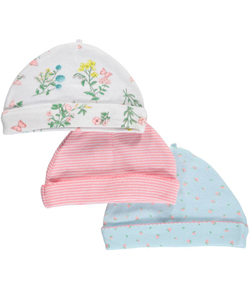 "Carter's Baby Girls' ""Collecting Flowers"" 3-Pack Caps - CookiesKids.com"