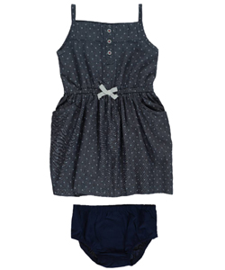 "Carter's Baby Girls' ""Chambray Star"" Dress with Diaper Cover - CookiesKids.com"