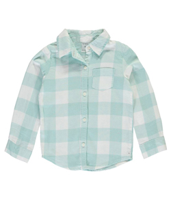 "Carter's Little Girls' ""Lined Check"" Button-Down (Sizes 4 – 6X) - CookiesKids.com"