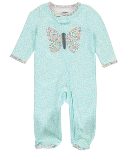 "Carter's Baby Girls' ""Floral Butterfly Split"" Footed Coverall - CookiesKids.com"