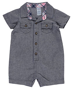 "Carter's Baby Boys' ""Plaid-Trimmed Chambray"" Romper - CookiesKids.com"