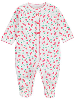 "Carter's Baby Girls' ""Picot Cherries"" Footed Coverall - CookiesKids.com"