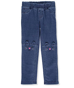 "Carter's Little Girls' Toddler ""Cute Cat"" French Terry Jeggings (Sizes 2T – 5T) - CookiesKids.com"