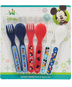 "Mickey Mouse ""Stars & Stripes"" 6-Piece Fork & Spoon Set - CookiesKids.com"