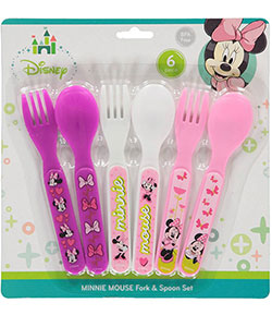 "Minnie Mouse ""Bows & Butterflies"" 6-Piece Fork & Spoon Set - CookiesKids.com"