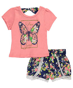 "Dollhouse Little Girls' ""Butterfly Spirit"" 2-Piece Outfit (Sizes 4 – 6X) - CookiesKids.com"
