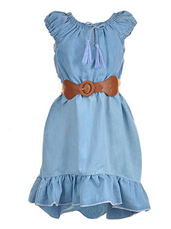 "Dollhouse Big Girls' ""Ruffled Chambray"" Belted Hi-Low Dress (Sizes 7 – 16) - CookiesKids.com"