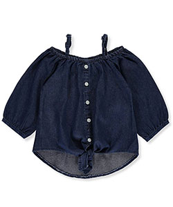 "Dollhouse Little Girls' ""Tied Chambray"" Cold Shoulder Top (Sizes 4 – 6X) - CookiesKids.com"
