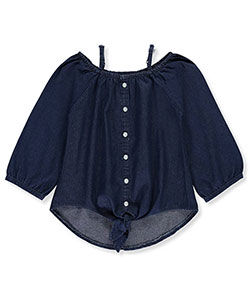 "Dollhouse Big Girls' ""Tied Chambray"" Cold Shoulder Top (Sizes 7 – 16) - CookiesKids.com"