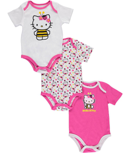 "Hello Kitty Baby Girls' ""Busy-Bee Kitty"" 3-Pack Bodysuits - CookiesKids.com"