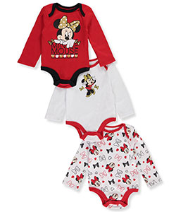 Minnie Mouse Baby Girls' 3-Pack L/S Bodysuits - CookiesKids.com