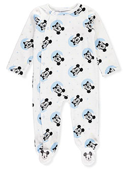 Mickey Mouse Baby Boys' Velour Footed Coverall - CookiesKids.com