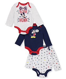 Mickey Mouse Baby Boys' 3-Pack L/S Bodysuits - CookiesKids.com