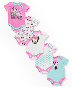 Disney Minnie Mouse Baby Girls' 5-Pack Bodysuits - CookiesKids.com