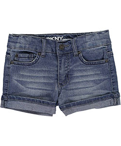 "DKNY Little Girls' ""Angled Seam – Rolled"" Short Shorts (Sizes 4 – 6X) - CookiesKids.com"