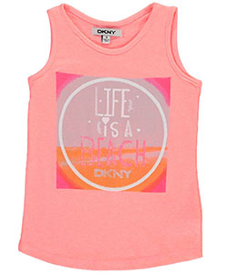 "DKNY Little Girls' ""Life Is a Beach"" Tank Top (Sizes 4 – 6X) - CookiesKids.com"