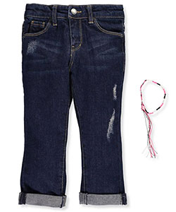 "DKNY Little Girls' Toddler ""Angle Pocket"" Cropped Jeans with Bracelet (Sizes 2T – 4T) - CookiesKids.com"