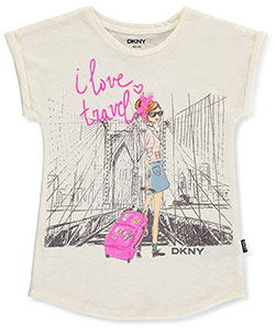 "DKNY Big Girls' ""I Love Travel"" T-Shirt (Sizes 7 – 16) - CookiesKids.com"