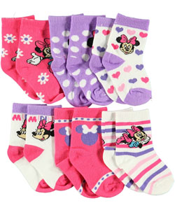 "Minnie Mouse ""Celebrate!"" 6-Pack Crew Socks (Sizes 0M – 24M) - CookiesKids.com"