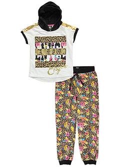 "Enyce Big Girls' ""Floral Cheetah"" 2-Piece Outfit (Sizes 7 – 16) - CookiesKids.com"