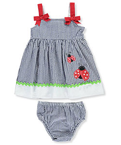 "Sweet Baby Girls' ""Bowed Gingham"" Dress with Diaper Cover - CookiesKids.com"