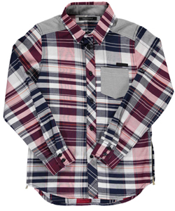 "Sean John Big Boys' ""Zipped Plaid"" L/S Button-Down (Sizes 8 – 20) - CookiesKids.com"