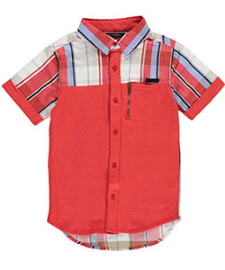 "Sean John Little Boys' Toddler ""French Terry Plaid"" S/S Button-Down (Sizes 2T – 4T) - CookiesKids.com"
