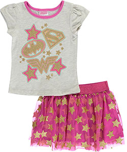 "Justice League Little Girls' Toddler ""Star Heroes"" 2-Piece Outfit (Sizes 2T – 4T) - CookiesKids.com"