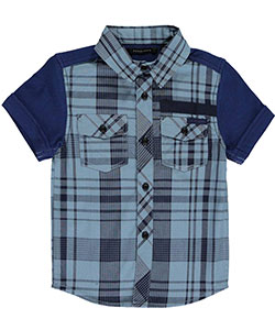 "Sean John Little Boys' Toddler ""Run Time"" S/S Button-Down (Sizes 2T – 4T) - CookiesKids.com"