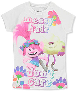 "Trolls Big Girls' ""Messy Hair Don't Care"" T-Shirt (Sizes 7 – 16) - CookiesKids.com"